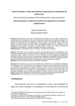 Cloud Computing: o reflexo das políticas de segurança nas