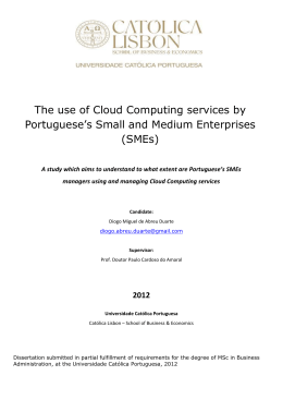 The use of Cloud Computing services by Portuguese`s Small and