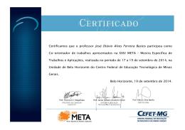 Certificamos que o professor José Otávio Alves Ferreira Bastos
