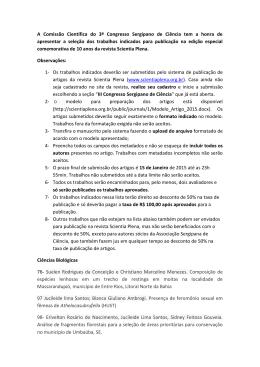 Lista de Indicações - III Congresso Sergipano de Ciência