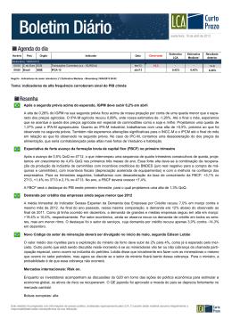 Tema: indicadores de alta frequência corroboram sinal do PIB