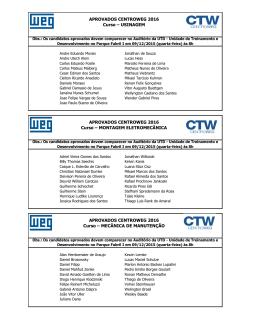 Candidatos aprovados no Processo Seletivo