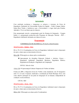 Programação de recepção do curso Engenharia Ambiental
