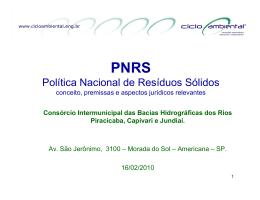 PNRS – Conceitos, Premissas e Aspectos Jurídicos Relevantes