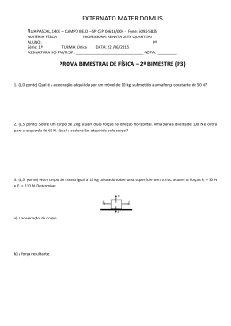 p3 física 1ª série - Professora Renata Quartieri