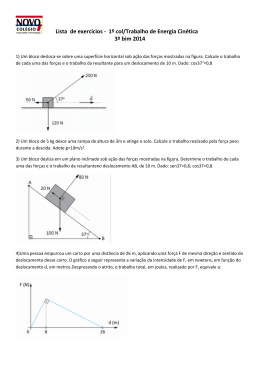 Lista de exercícios - 1º col/Trabalho de Energia Cinética 3º bim 2014