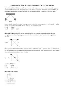 lista de exercícios de física – eletrostática – prof. xavier