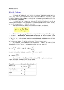 Força Elétrica lei de Coulomb