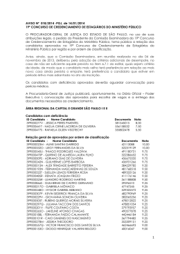 Aviso nº 018/2014-PGJ - Resultado final