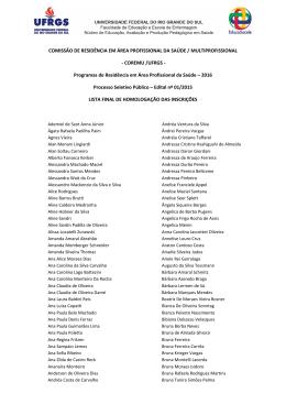 Lista final de homologação de inscrições