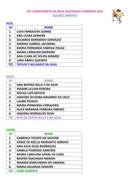 42º campeonato de bola queimada feminino 2015 equipes infantil