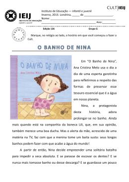"""Em """"O Banho de Nina"""", Ana Cristina Melo usa o dia a dia de uma"""