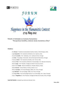 "Forum: A Felicidade no Contexto Humanístico: ""Perspectivas"