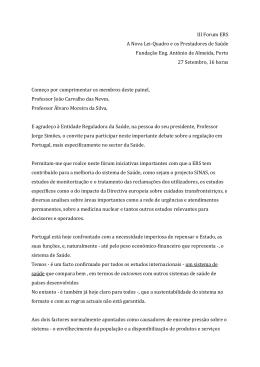 III Forum ERS A Nova Lei-Quadro e os Prestadores