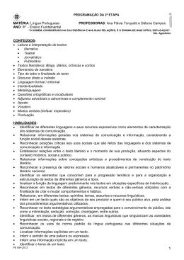MATÉRIA: Língua Portuguesa PROFESSORAS: Ana Flávia