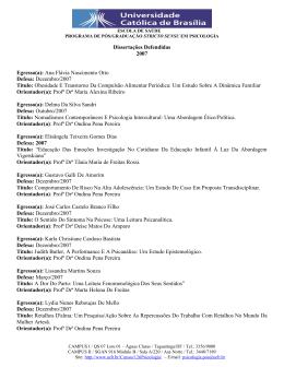 Dissertações Defendidas 2007 Egresso(a): Ana Flávia Nascimento