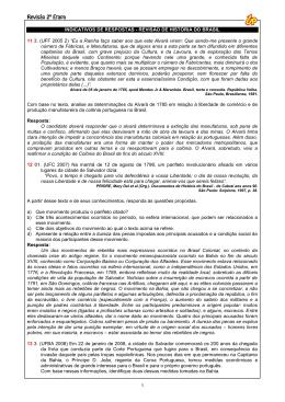 1 INDICATIVOS DE RESPOSTAS - REVISÃO DE HISTÓRIA