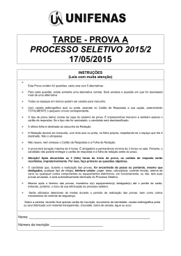 TARDE - PROVA A PROCESSO SELETIVO 2015/2 17/05