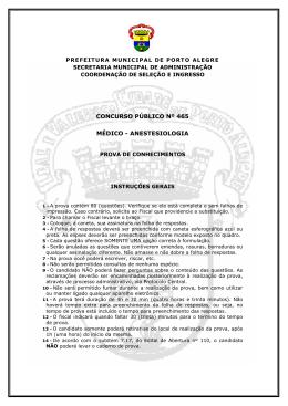 PROVA CP 465 - ANESTESIOLOGIA