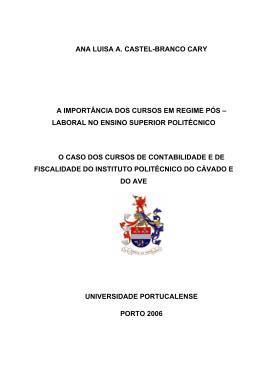 ANA LUISA A. CASTEL-BRANCO CARY A IMPORTÂNCIA DOS