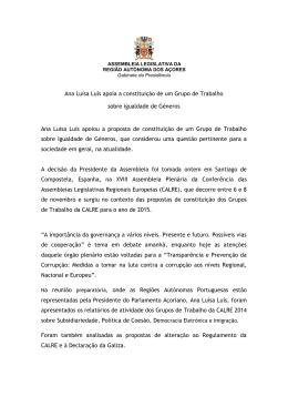 Ana Luísa Luís apoia a constituição de um Grupo de Trabalho sobre