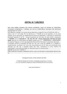 2015 Alteração ao Loteamento Municipal Expansão IV da ZIL