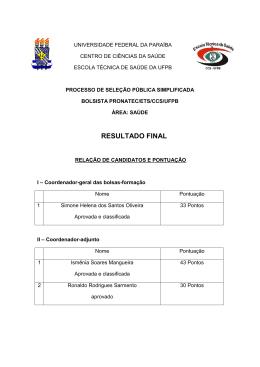 resultado final - Escola Técnica de Saúde da UFPB