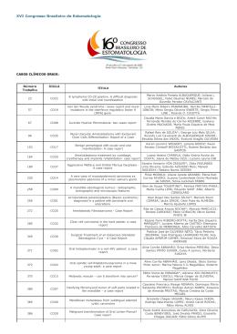 baixe casos clínicos orais - Sociedade Brasileira de Estomatologia