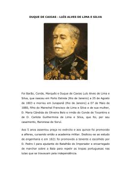 DUQUE DE CAXIAS - LUÍS ALVES DE LIMA E SILVA Foi Barão