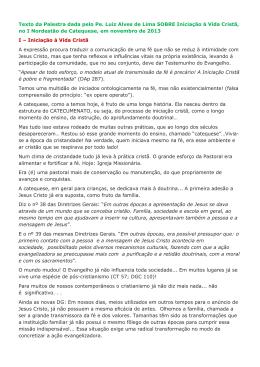 Texto da Palestra dada pelo Pe. Luiz Alves de Lima SOBRE