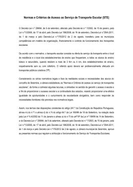 Normas e Critérios de Acesso ao Serviço de Transporte Escolar (STE)