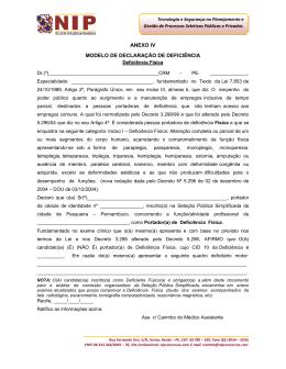ANEXO IV MODELO DE DECLARAÇÃO DE DEFICIÊNCIA