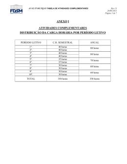 tabela de atividades complementares