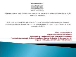 V SEMINÁRIO A GESTÃO DE DOCUMENTOS ARQUIVÍSTICOS NA