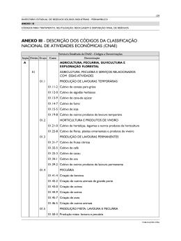 descrição dos códigos da classificação nacional de
