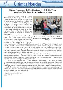 Núcleo Permanente de Conciliação da 2ª VT de Rio Verde