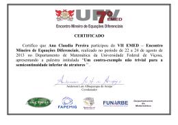 CERTIFICADO Certifico que Ana Claudia Pereira participou
