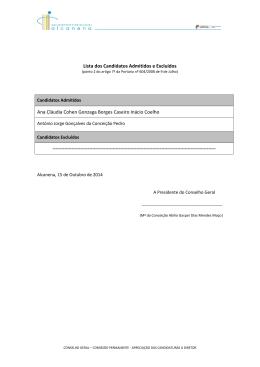 Lista dos Candidatos Admitidos e Excluídos Ana Cláudia Cohen