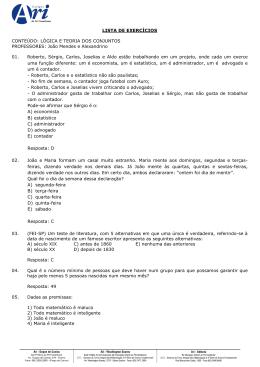 Lista de Exercícios - Lógica e Teoria dos Conjuntos