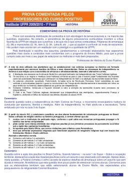 COMENTÁRIO DA PROVA DE HISTÓRIA 1 HISTÓRIA HISTÓRIA