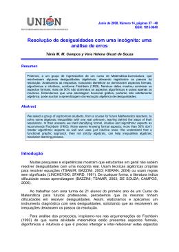 UNIÓN. Revista Iberoamericana de Educación Matemática