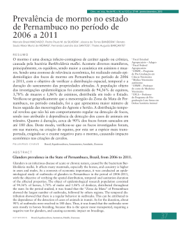 Prevalência de mormo no estado de Pernambuco no período de