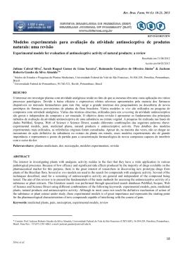 Modelos experimentais para avaliação da atividade antinociceptiva