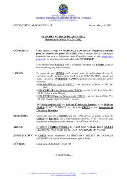 OFÍCIO CIRCULAR Nº 001/2012 - EL Recife, Março de - Creci-PE