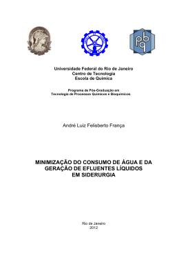 MINIMIZAÇÃO DO CONSUMO DE ÁGUA E DA - TPQB