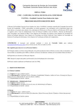processo seletivo docente 2015/1