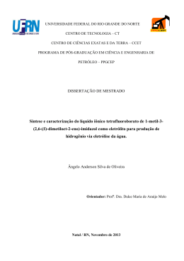 Síntese e caracterização do líquido iônico tetrafluoroborato