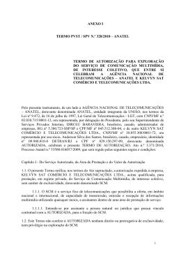 anexo i termo pvst / spv n.º 328/2010 – anatel termo de autorização