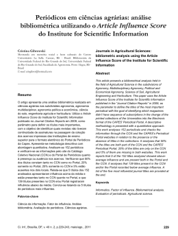 análise bibliométrica utilizando o Article Influence Score do Institute