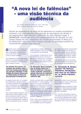 """""""A nova lei de falências"""" - uma visão técnica da audiência"""